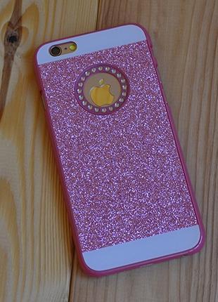 Пластиковый чехол с блестками Bling с вырезом Розовый для iPhone