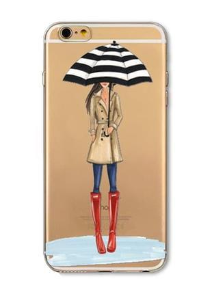 Силиконовый чехол Girl under Umbrella для iPhone 7
