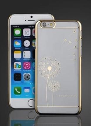 Чехол пластиковый прозрачный с Одуванчиком Золото для IPhone 6