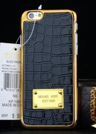 Пластиковый чехол Michael Kors Crocodile Black Черный для IPhone