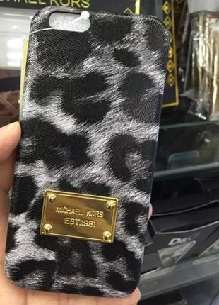 Пластиковый чехол Michael Kors Leopard Серый для IPhone 6/6s