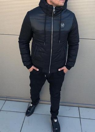 Мужская куртка зима экокожа
