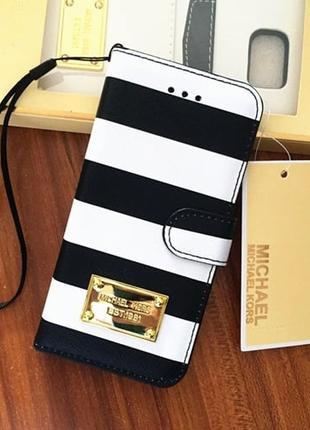 Чехол книжка Michael Kors Strips Черный для IPhone 6/6s