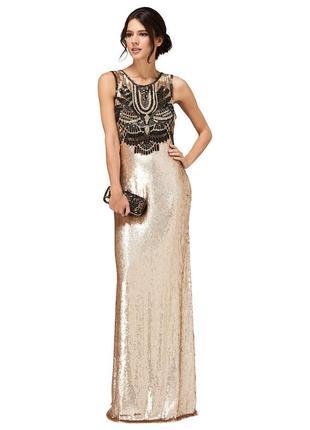 Вечернее новогоднее золотое платье двухсторонняя пайетка вышив...