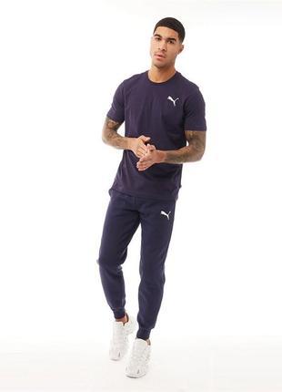 Puma mens essentials fleece pants navy байковые теплые брюки с...