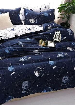 Постельное полуторное белье звезды космос космонавт