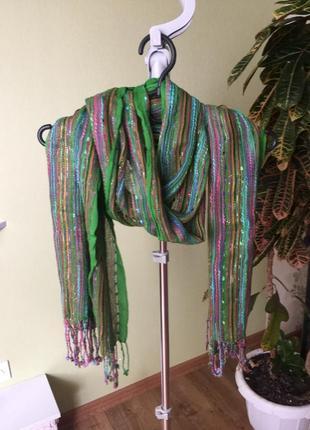 Яскравий шарф-палантин з люрексом