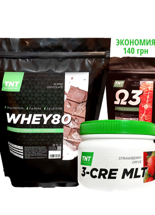 Комплект для набора массы: 2 кг Протеин Poland + Креатин + Омега3