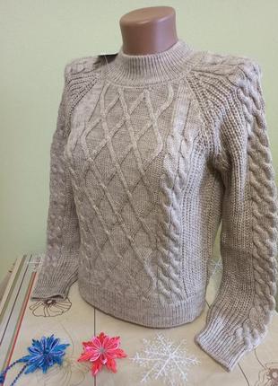 Женский вязаный теплый свитер. суперская вязка состав: 70 % ше...