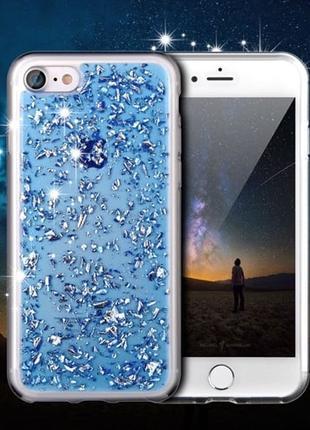 Силиконовый чехол с блестками Синий для iPhone 8