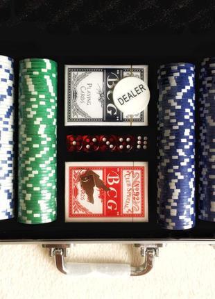 Набор для игры в покер 300 фишек в кейсе покерный набор новый