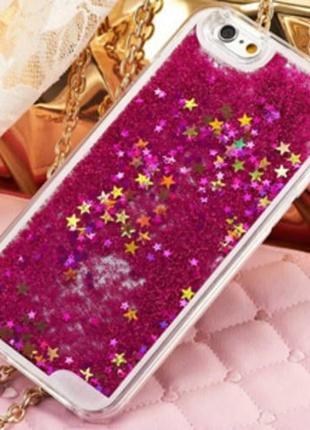 Чехол пластиковый прозрачный с Блестками Розовый для IPhone 7