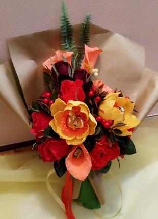 Букет цветов из конфет. Цветы и конфеты. Конфетный букет.