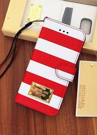 Чехол книжка Michael Kors Strips Красный для IPhone 6/6s