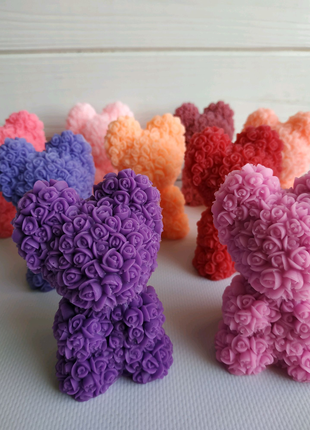 Мишка в розах мыло подарок на 8 марта день влюбленных 14 февраля