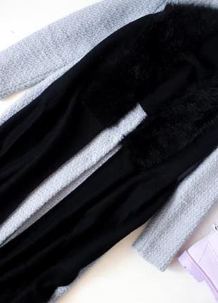 Черный большой теплый шарф reserved шарф с мехом объемный шарф...