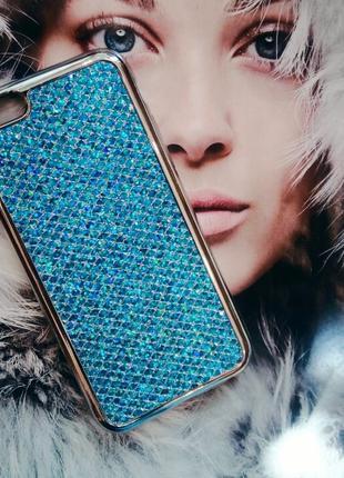 Силиконовая накладка Rhinestones Skin Blue для iPhone 8