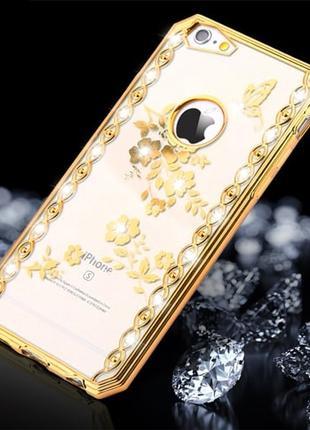 Силиконовый чехол со стразами Spring Gold Золотой для iPhone 6&6s