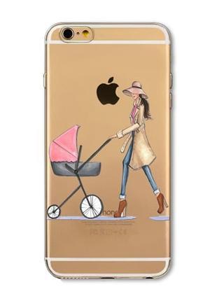 Силиконовый чехол Woman with a Stroller для iPhone 8