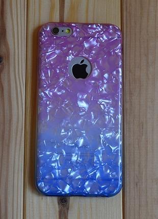 Силиконовый чехол Блестки с вырезом Розовый с Синим для iPhone 6/