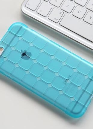 Силиконовый чехол Yihailu квадратики ударостойкий Голубой для iPh