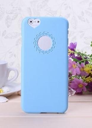 Пластиковый чехол Кружева Heart Голубой для IPhone 6