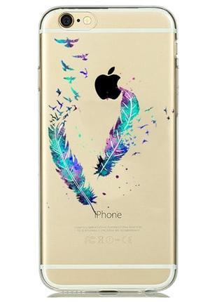Силиконовый чехол Watercolor Art Colored Feathers для iPhone 6&6s