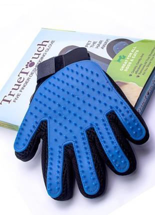 Перчатка для вычесывания шерсти животных кошек и собак