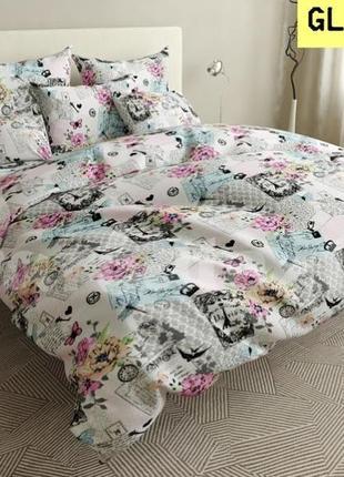 Постільна білизна/постельное бельё: париж квіти