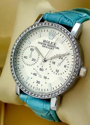 Женские кварцевые наручные часы Rolex на кожаном ремешке