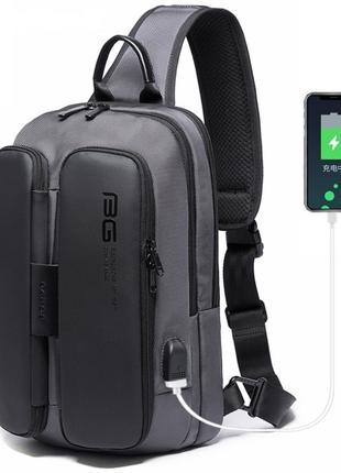 Однолямочный рюкзак Bange BG-7079 мужской городской серый