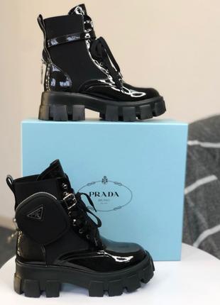 Распродажа Женские Ботинки Prada Leather Boots Nylon Pouch мех