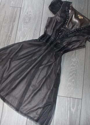 Платье праздничное / вечернее серая сетка со стразами и стекля...