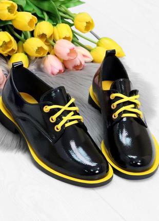 Чёрные лаковые туфли оксфорды на шнурках 35-41