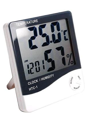 Термометр с гигрометром HTC-1  часы, будильник, дата
