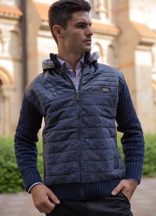 Куртка мужская с капюшоном синяя
