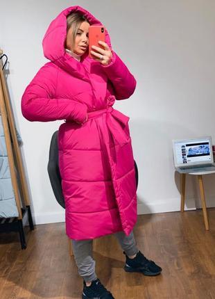 Тёплая стильная куртка палатка с капюшоном, с поясом