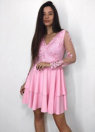 Платье женское розовое, рукав сетка + кружево