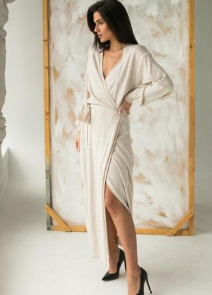 Длинное трикотажное платье на запах
