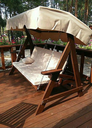 Садовая качели скамейка удобная, надежная, крепкая. Наши качели и