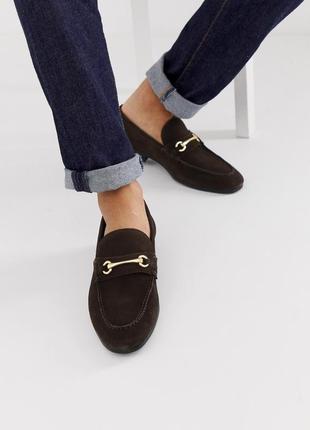 Натуральные кожаные замшевые туфли лоферы асос asos