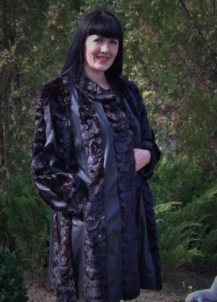 Роскошная шуба-пальто норка+кожа