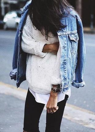 Джинсовая куртка oversize xs s m пиджак жакет свободный рубашк...
