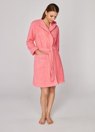 Махровый халат женский с капюшоном от Ellen LDG 101/001 розовый,