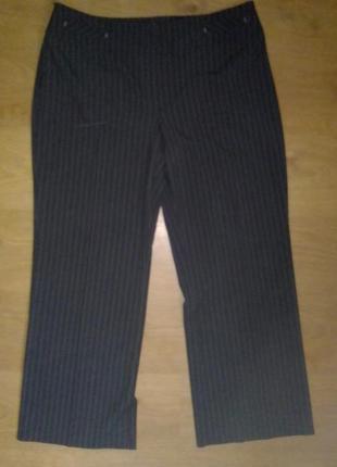 Классические элегантные прямые темно-серые брюки тонкая полоск...