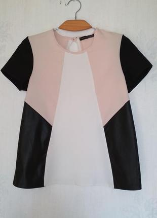Блуза с кожзам вставками