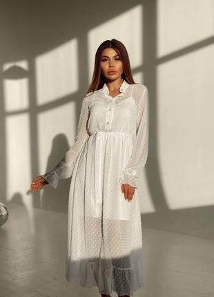 Белое вечернее платье из софта и шифона в горошек