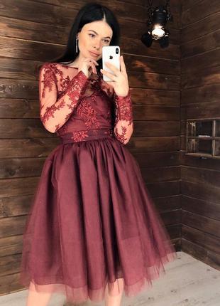 Бордовое вечернее платье комплект: кружевной боди и фатиновая ...