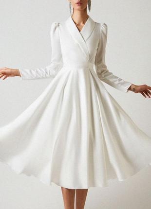 Шелковое белое вечернее платье - миди