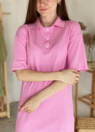 Платье-поло базовое с небольшими разрезами